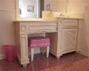 Girls Bath with Louvered Doors and Applied Moulding Drawers