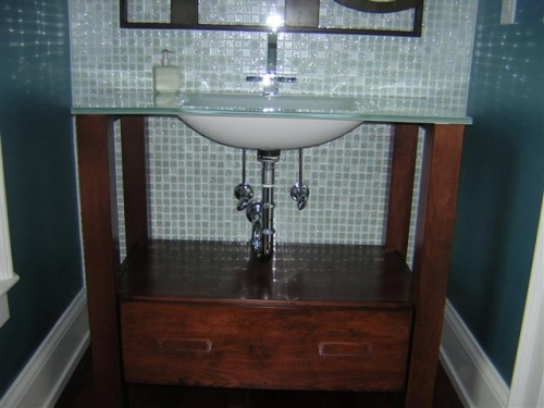 Exposed Plumbing Vanity with Drawers at Bottom