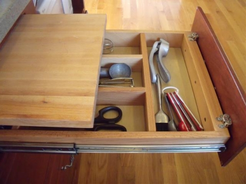 Utensil Drawer with Cutting Board Pullout Above